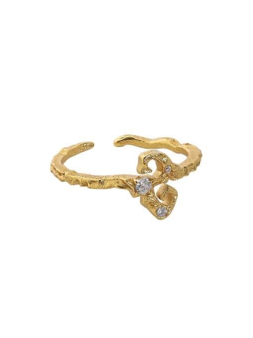 18K gold [14 adjustable] 925 Sterling Silver Rhinestone Irregular Vintage Band Ring